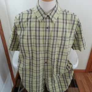 North Face lime/yellow, gray plaid shirt - mens XL